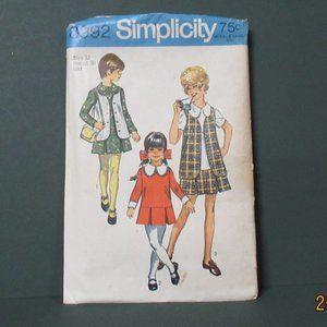 1970 Girls DRESS & VEST Pattern S8992 UNCUT Sz 12